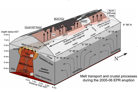 Perfit fig: Model of the magmatic plumbing beneath ~9°50'N EPR associated with 2005-06 eruption (from Goss et al. 2010)